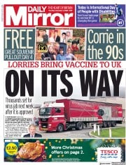 Daily Mirror front page for 3 December 2020
