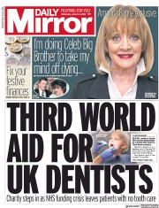 Daily Mirror (UK) Newspaper Front Page for 3 January 2018
