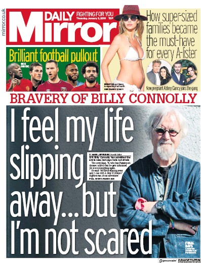 Daily Mirror Newspaper Front Page (UK) for 3 January 2019