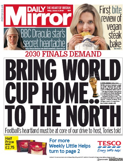 Daily Mirror Newspaper Front Page (UK) for 3 January 2020