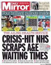 Daily Mirror (UK) Newspaper Front Page for 3 February 2018