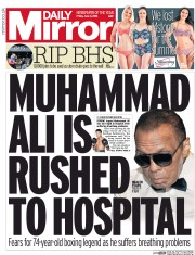 Daily Mirror () Newspaper Front Page for 3 June 2016