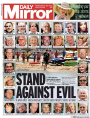 Daily Mirror (UK) Newspaper Front Page for 3 July 2015
