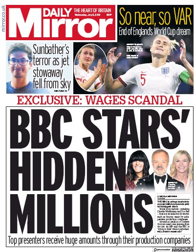 Daily Mirror Newspaper Front Page (UK) for 3 July 2019