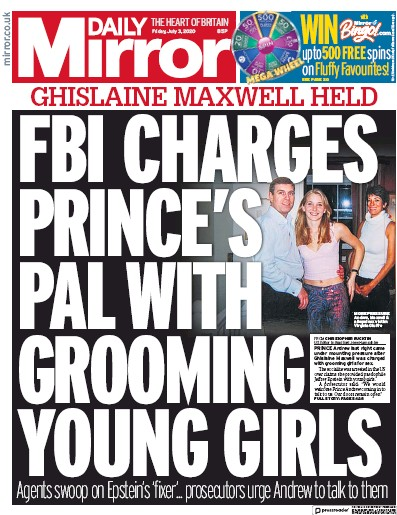 Daily Mirror Newspaper Front Page (UK) for 3 July 2020