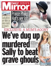 Daily Mirror (UK) Newspaper Front Page for 3 August 2017