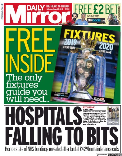 Daily Mirror Newspaper Front Page (UK) for 3 August 2019