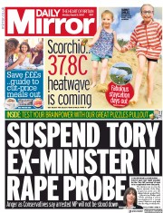 Daily Mirror front page for 3 August 2020