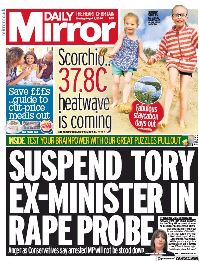 Daily Mirror Newspaper Front Page (UK) for 3 August 2020