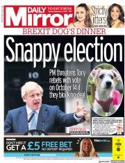 Daily Mirror (UK) Newspaper Front Page for 3 September 2019