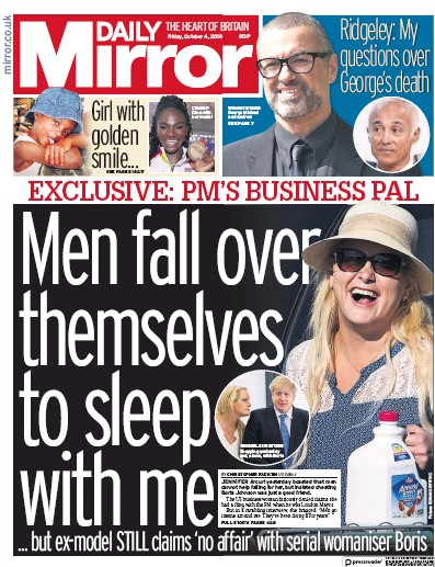 Daily Mirror Newspaper Front Page (UK) for 4 October 2019