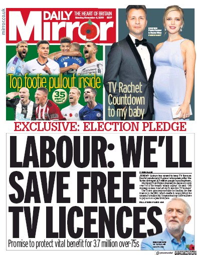 Daily Mirror Newspaper Front Page (UK) for 4 November 2019