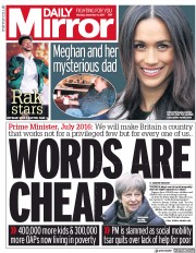 Daily Mirror (UK) Newspaper Front Page for 4 December 2017