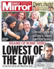 Daily Mirror (UK) Newspaper Front Page for 4 January 2018