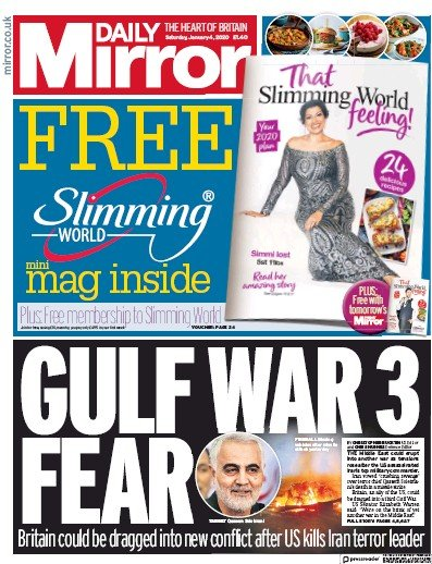 Daily Mirror Newspaper Front Page (UK) for 4 January 2020