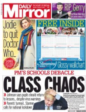 Daily Mirror front page for 4 January 2021