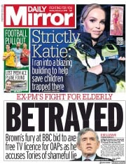 Daily Mirror () Newspaper Front Page for 4 February 2019