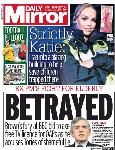 Daily Mirror Newspaper Front Page (UK) for 4 February 2019