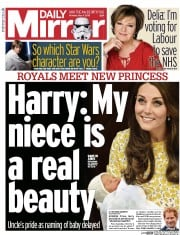 Daily Mirror (UK) Newspaper Front Page for 4 May 2015