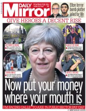 Daily Mirror (UK) Newspaper Front Page for 4 July 2017
