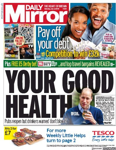 Daily Mirror Newspaper Front Page (UK) for 4 July 2020