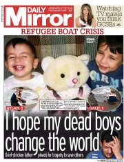 Daily Mirror (UK) Newspaper Front Page for 4 September 2015