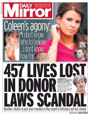 Daily Mirror (UK) Newspaper Front Page for 4 September 2017