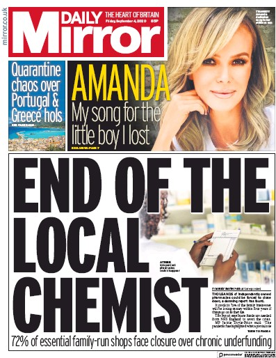 Daily Mirror Newspaper Front Page (UK) for 4 September 2020