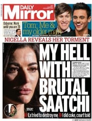 Daily Mirror Newspaper Front Page (UK) for 5 December 2013