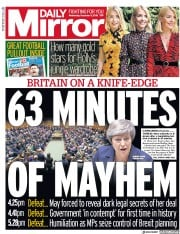 Daily Mirror (UK) Newspaper Front Page for 5 December 2018