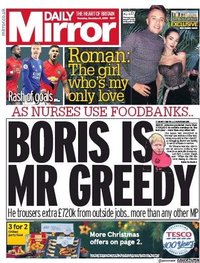 Daily Mirror Newspaper Front Page (UK) for 5 December 2019