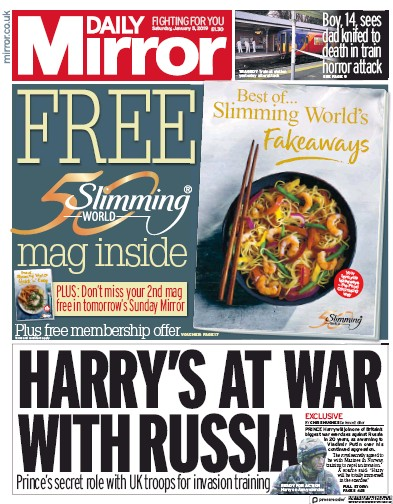Daily Mirror Newspaper Front Page (UK) for 5 January 2019