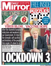 Daily Mirror front page for 5 January 2021
