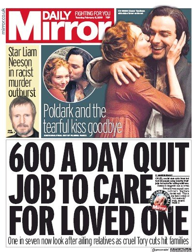 Daily Mirror Newspaper Front Page (UK) for 5 February 2019