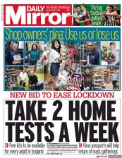 Daily Mirror () Newspaper Front Page for 5 April 2021