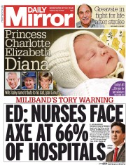Daily Mirror (UK) Newspaper Front Page for 5 May 2015