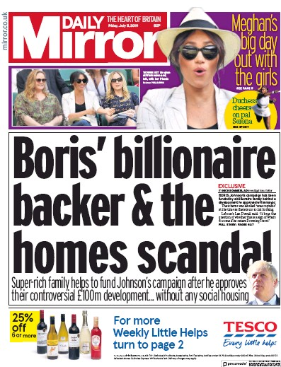 Daily Mirror Newspaper Front Page (UK) for 5 July 2019