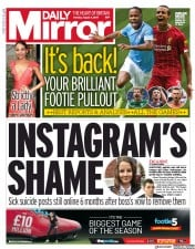 Daily Mirror (UK) Newspaper Front Page for 5 August 2019