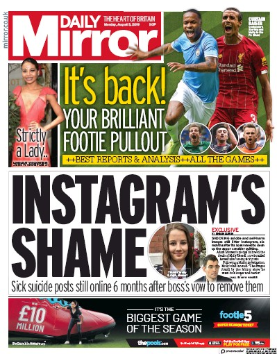 Daily Mirror Newspaper Front Page (UK) for 5 August 2019