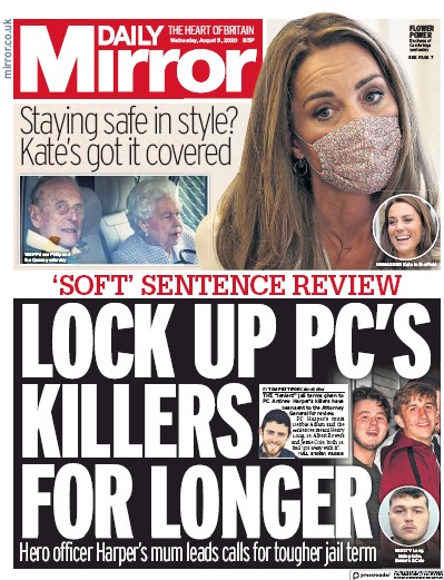 Daily Mirror Newspaper Front Page (UK) for 5 August 2020