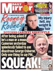 Daily Mirror Newspaper Front Page (UK) for 5 September 2012