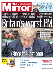 Daily Mirror (UK) Newspaper Front Page for 5 September 2019