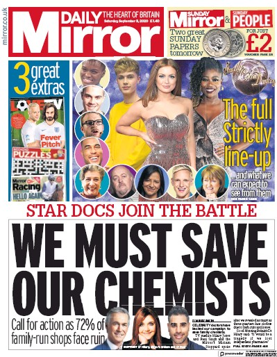 Daily Mirror Newspaper Front Page (UK) for 5 September 2020
