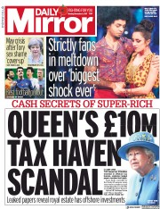 Daily Mirror (UK) Newspaper Front Page for 6 November 2017