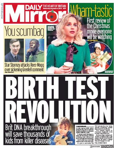 Daily Mirror Newspaper Front Page (UK) for 6 November 2019