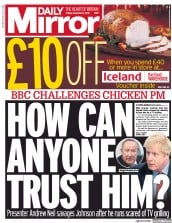 Daily Mirror (UK) Newspaper Front Page for 6 December 2019