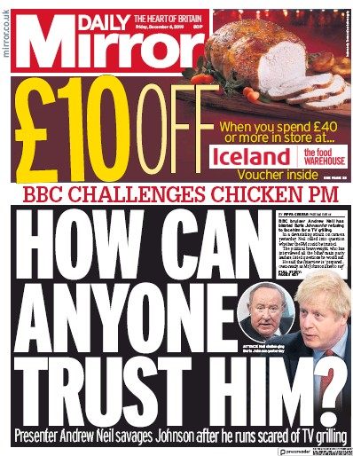 Daily Mirror Newspaper Front Page (UK) for 6 December 2019