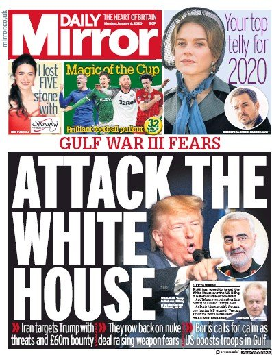 Daily Mirror Newspaper Front Page (UK) for 6 January 2020
