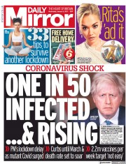Daily Mirror front page for 6 January 2021