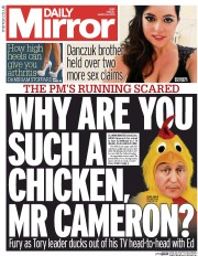 Daily Mirror (UK) Newspaper Front Page for 6 March 2015